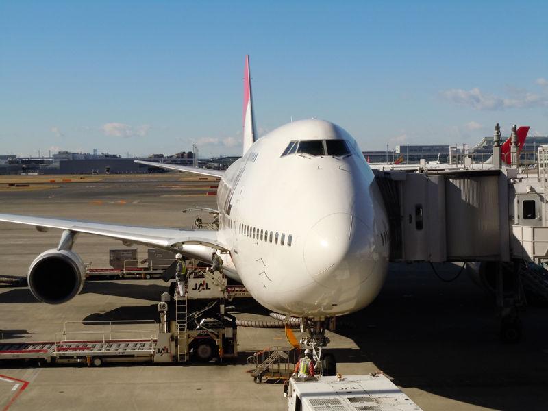 羽田空港のスポットに駐機するJA8084