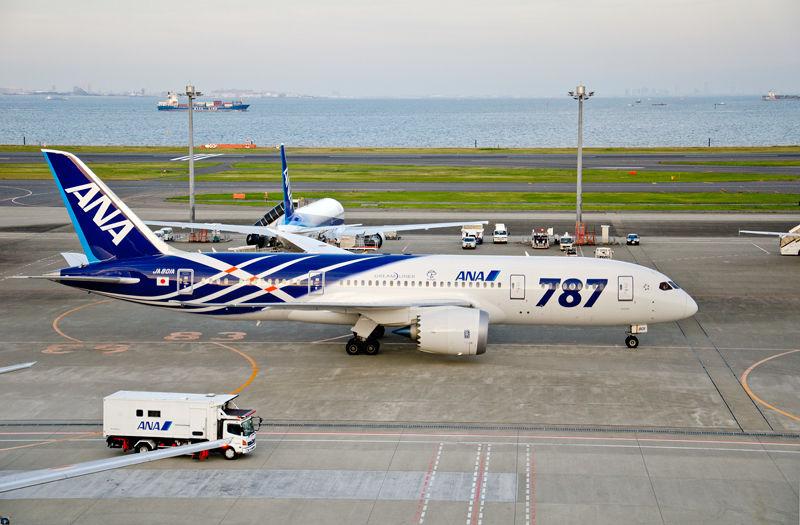 B787は世界で初めて複合素材を機体の主要構造部に大きく採用した飛行機