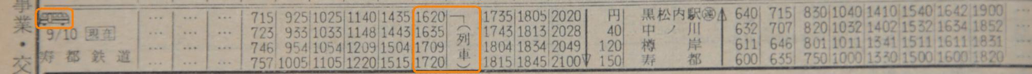 寿都鉄道時刻表:交通公社時刻表1967年10月号