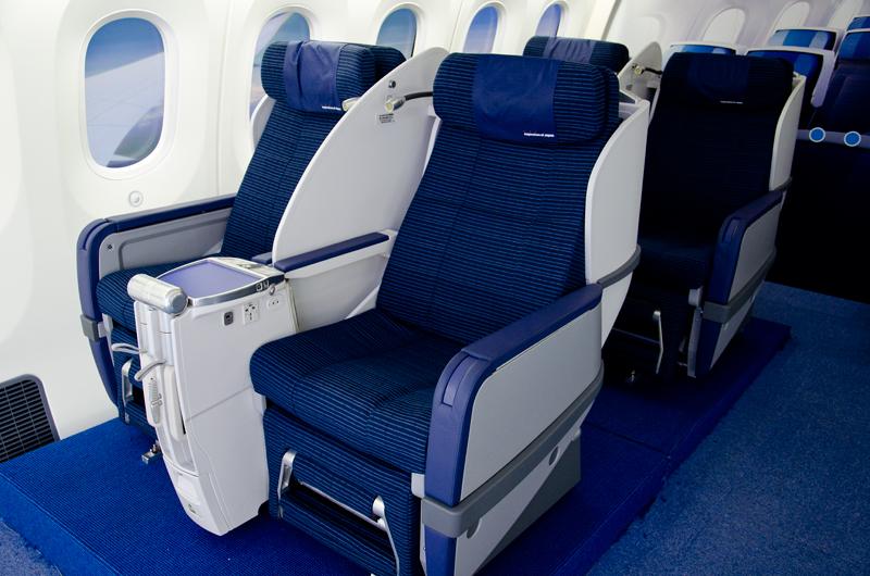 現在、全日空の国内線で運航しているB787は暫定版で国際線仕様のシートが装備