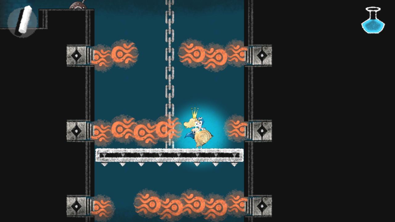 下降するエレベータに炎の噴射、姫を守るのも騎士のつとめ!