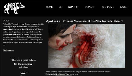 画像はWhole Hog Theatre公式ホームページのスクリーンショットです。