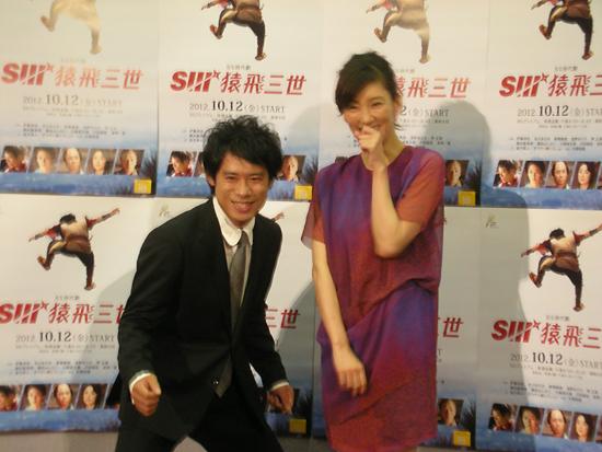 NHKで行われた記者会見より。伊藤・水川が「夏の京都の撮影は過酷だった」と口をそろえる