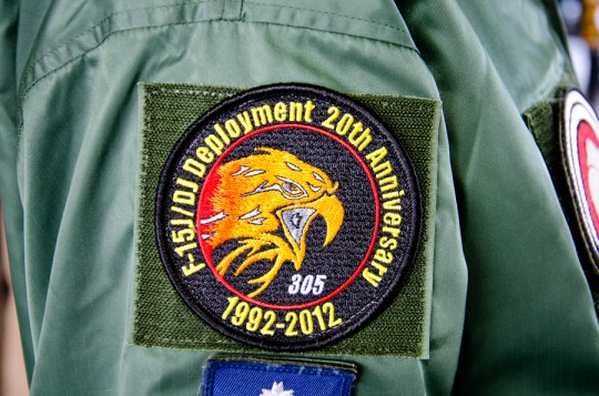 特別塗装機にも描かれたワシが精悍な305飛行隊F-15改編20周年記念パッチ