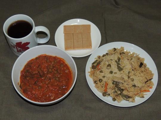 インド軍レーション野菜カレーとプラーオ