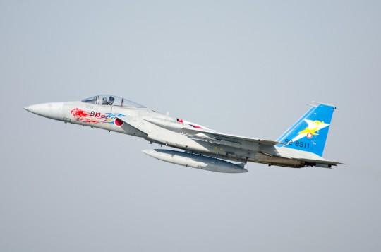 飛行展示に出る特別塗装のF-15J