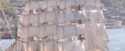 長崎海軍練習所の練習船「観光丸」、韓国の「コリアナ」等帆船4隻が長﨑港を彩る