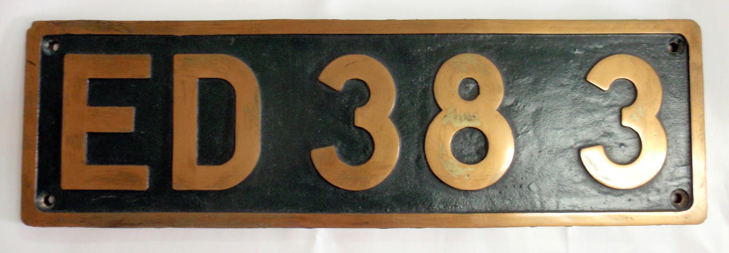 「ED383」ナンバープレート