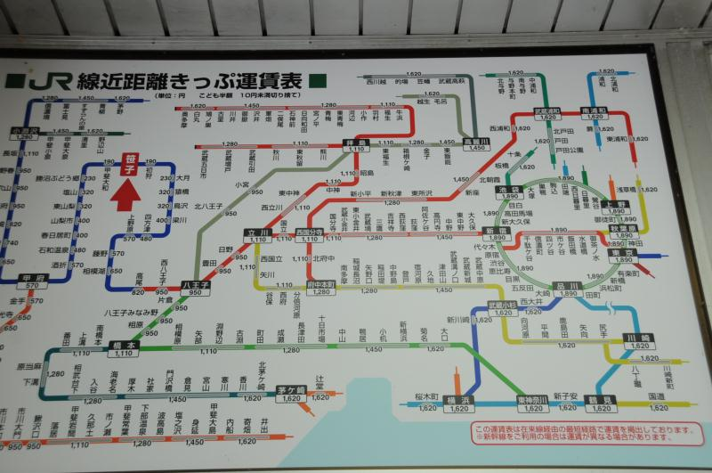 笹子駅の運賃表