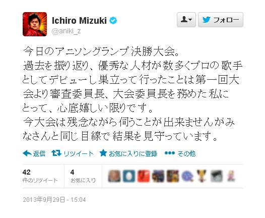 水木一郎さん 9月29日15:04投稿ツイート