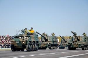 野戦特科部隊の99式自走155mmりゅう弾砲