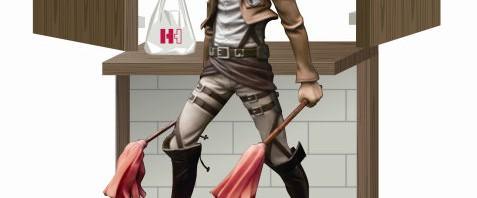 リヴァイ兵長のお掃除フュギュアプレゼントも!―ほっかほっか亭『進撃の巨弁』キャンペーン