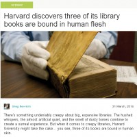 ハーバード大学の図書館で発見された『人皮装丁本』