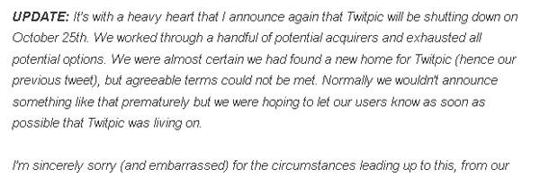 Twitpic、サービス存続を撤回―買収話はお流れ