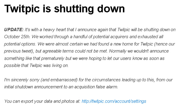Twitpic2度目の終了発表—買収話はお流れ