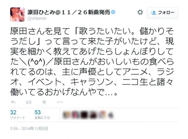 原田ひとみさんのTwitter画面