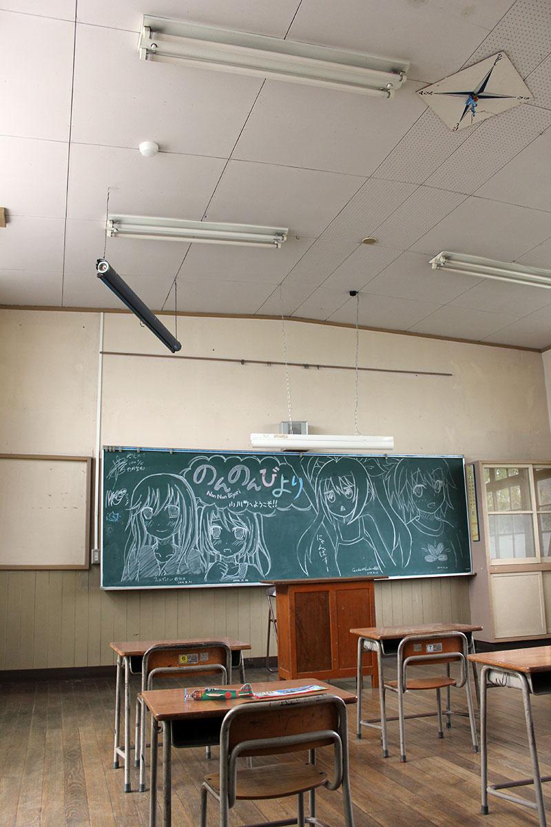 黒板に描かれた『のんのんびより』の絵