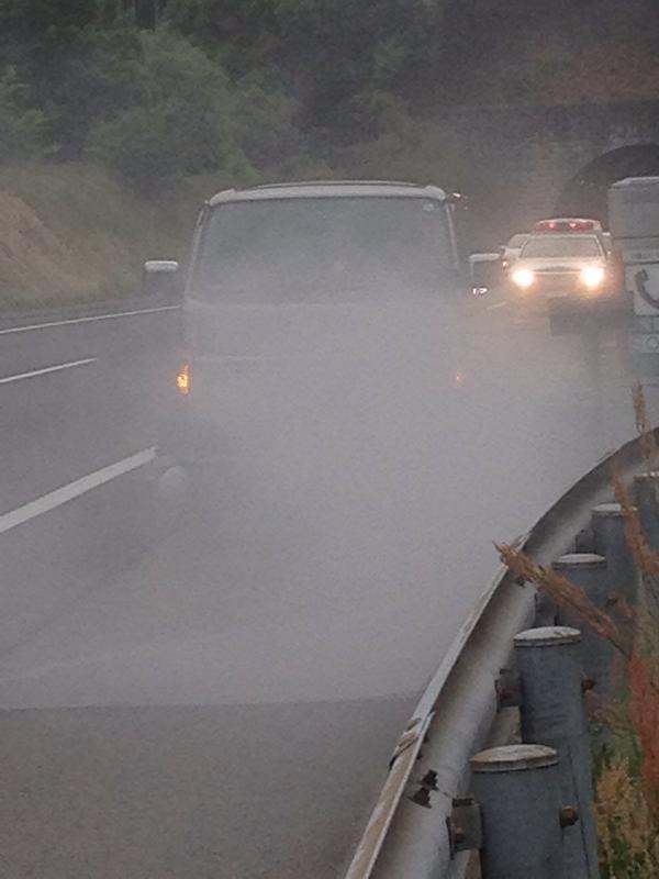 犬神サアカス團の機材車、山陽道上りで炎上