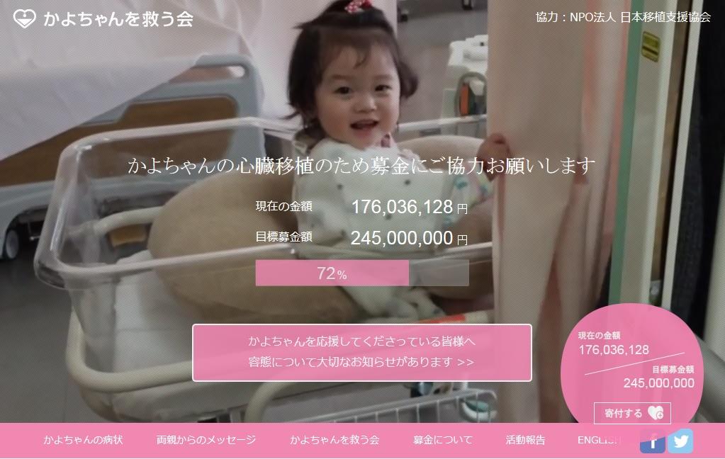 1歳のかよちゃん 心臓移植支援募金 目標わずかに届かず6月渡航が不可能