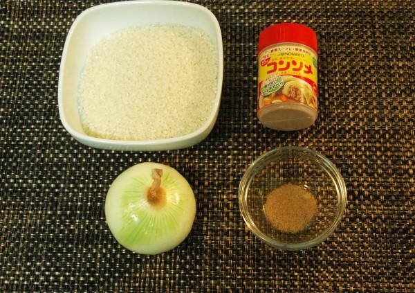 『玉ねぎ丸ごと炊き込みご飯』の材料