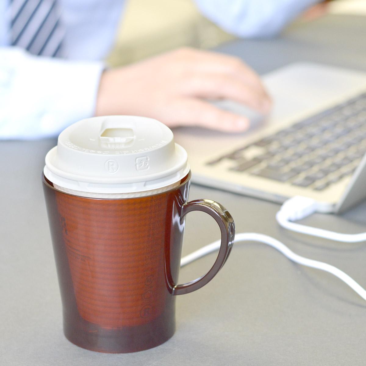 冷めたコーヒーとはおさらば!デスク用USB紙カップウォーマー誕生 缶コーヒーにも使えるって