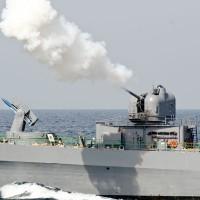 自衛隊観艦式2015・訓練展示 しまかぜ祝砲発射にブルーイン…