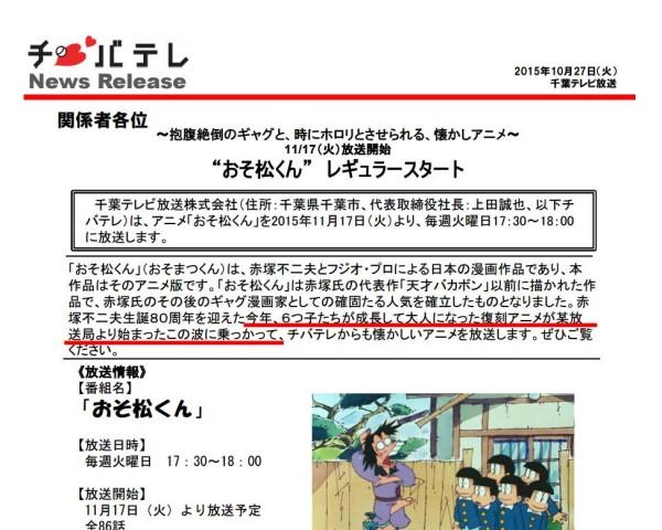千葉テレビ『おそ松くん』リリース