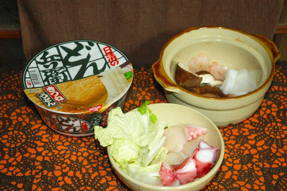加山雄三さんレシピのどん兵衛海鮮鍋つくってみた
