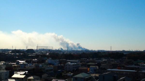 船橋市スクラップ置き場火災 鎌ケ谷から撮影