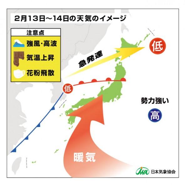 (2月13日~14日の天気のイメージ)