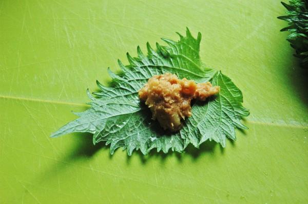 3:2をシソでくるっと包んで3つずつ爪楊枝か竹串に刺していく。