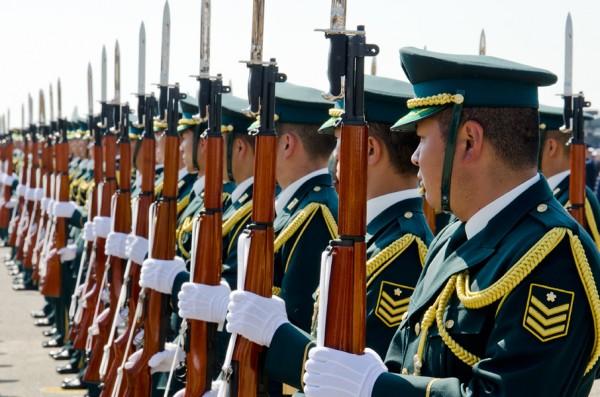 特別儀仗隊の着剣捧げ銃