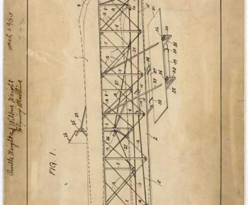 ライト兄弟の特許書類(写真:米国立公文書館)
