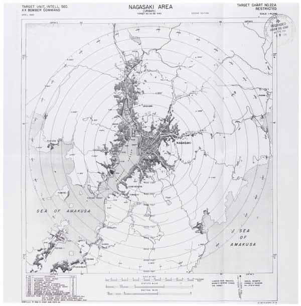 長崎の原爆投下ターゲットマップ(写真:米国立公文書館)
