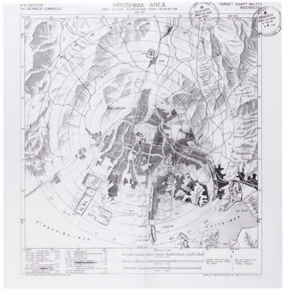 広島の原爆投下ターゲットマップ(写真:米国立公文書館)