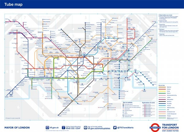 こちらが本来のロンドン地下鉄路線図