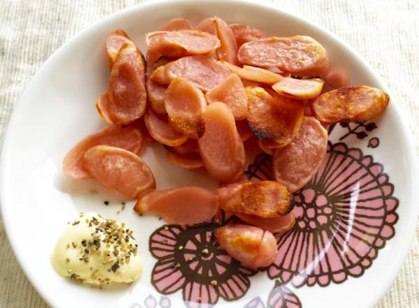 完成した魚肉チップス
