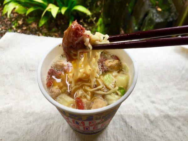 日清リッチカップヌードル(贅沢だしスッポンスープ味)+ニューコンミート+卵=あり