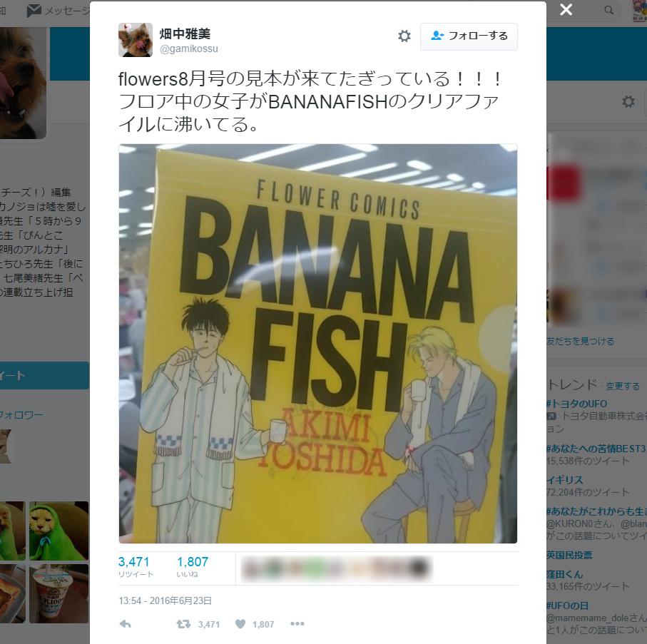 『BANANA FISH』クリアファイルにファン沸き立つ 月刊flowers8月号付録
