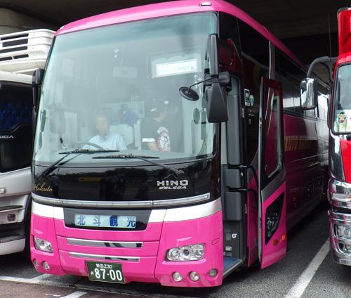 ピンク色のバス