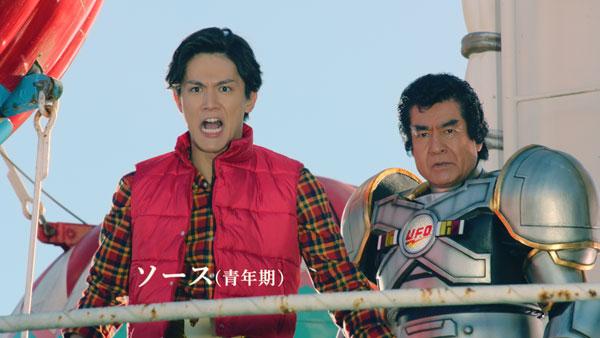 日清U.F.O.のヒーロー番組風CMに思わず茶吹く 藤岡弘、ライダーからバイクにジョブチェンジ