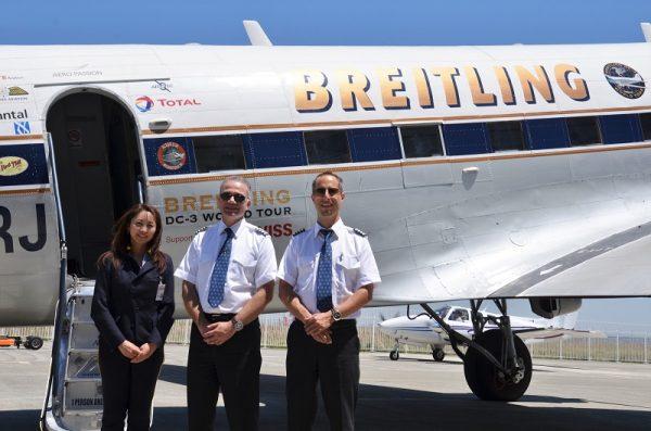 DC-3クルー。左から志太さん、アグーロ機長、ファブル副機長