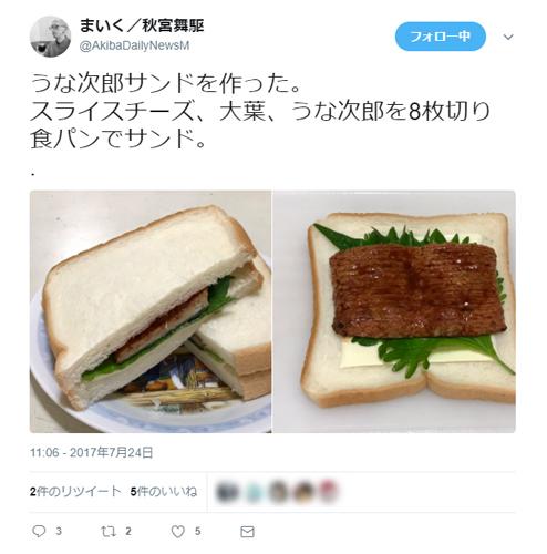 たまには変わった食べ方はいかが?「うなぎの蒲焼風サンドイッチ」