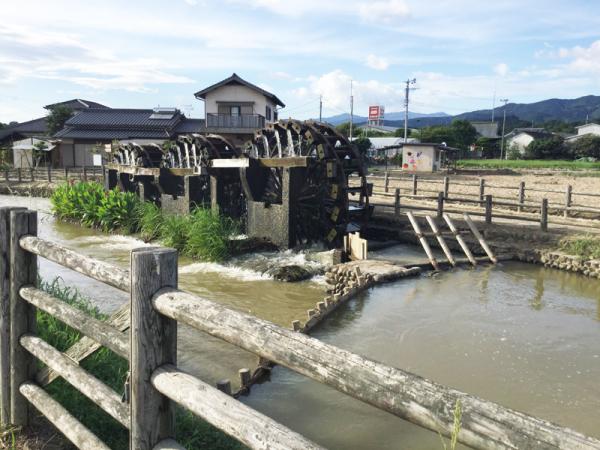 大雨からひと月、朝倉のシンボル「三連水車」が再稼働