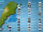 捜索にあたる航空機・艦船と捜索範囲(画像:Armada Argentina)