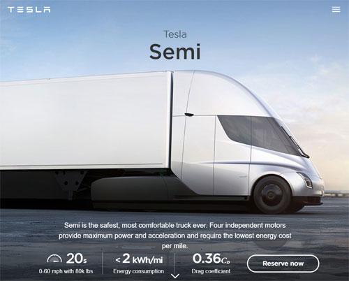 テスラの電気トラック「Semi」の性能がヤバい
