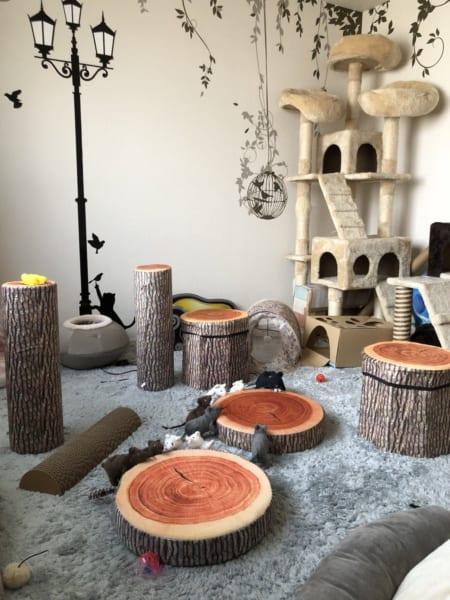 圧倒的切り株……!猫マスター宅の猫部屋が愛あふれすぎてますます森化