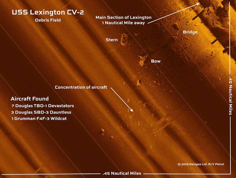 珊瑚海でアメリカの空母レキシントン発見