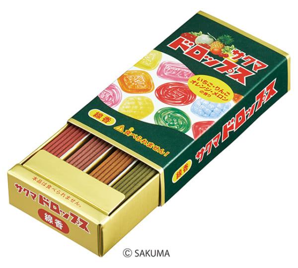 駄菓子屋さんには置いていない「サクマドロップス」 香りで愉しむ「線香」に!
