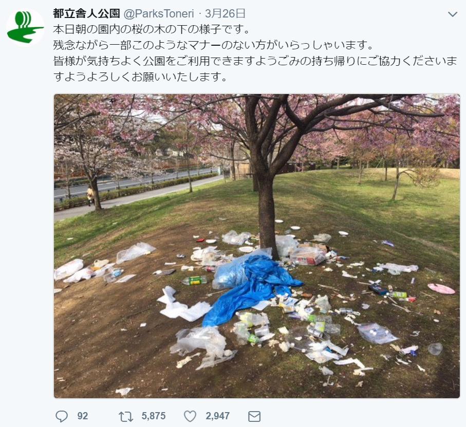 桜の木の根元に散乱するゴミ 都立舎人公園が写真を公開
